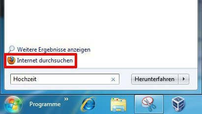 Windows 7 - Internetsuche im Startmenü